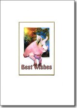 Pig in Window Best Wishes image