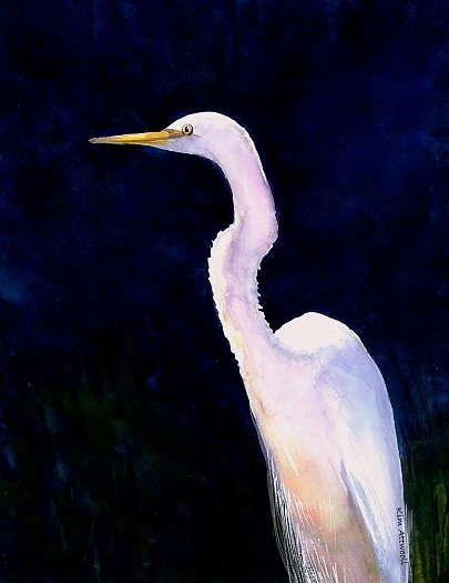egret image, handmade greeting cards