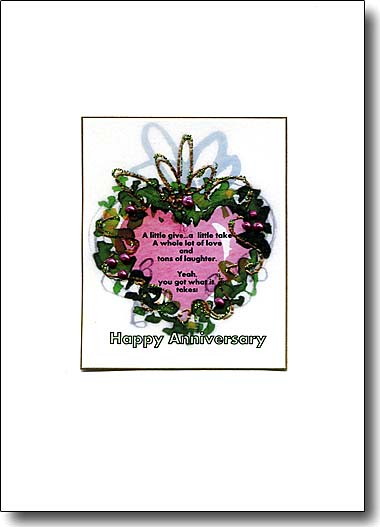 heart wreath anniversary card