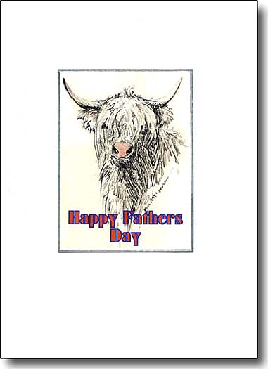highland cow father's day card