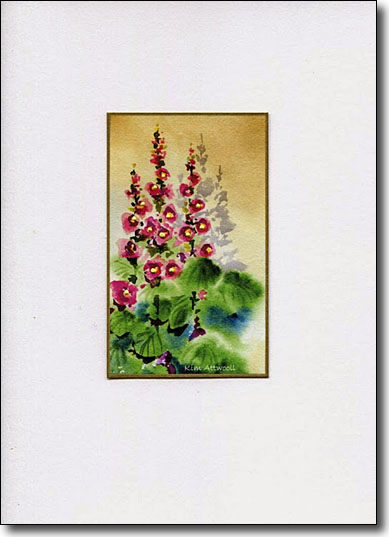 Hollyhocks on Gold image