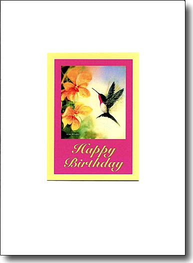 Hummingbird and Orchids image