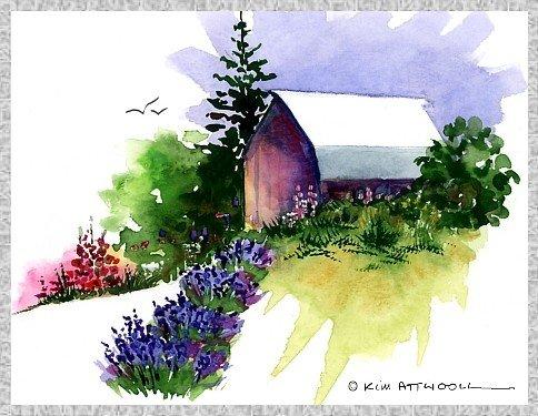landscape paintings, lavender farm image