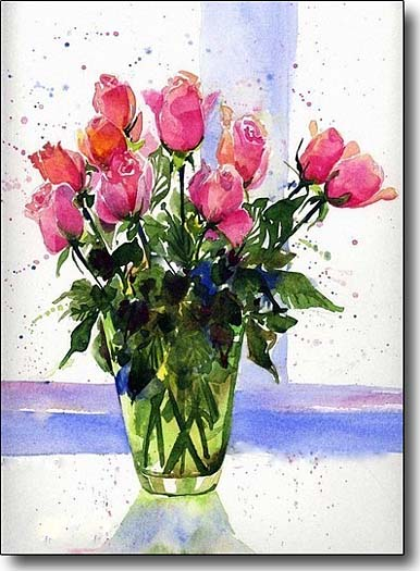 pink roses in green vase