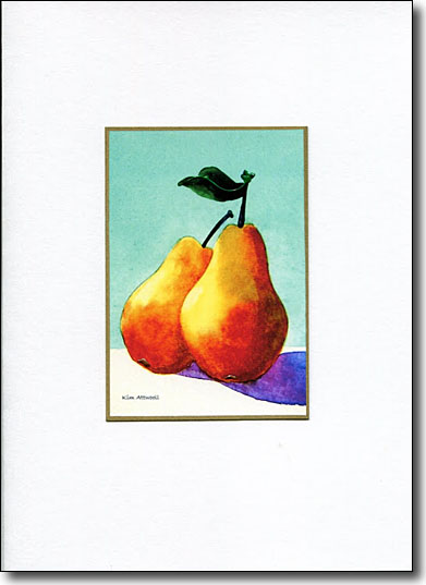 two pears, fruit greeting cards