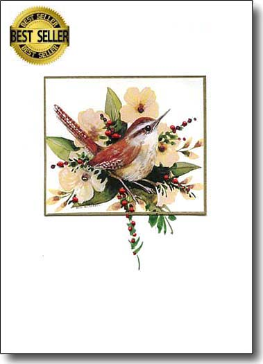 wren and berries holiday-cards