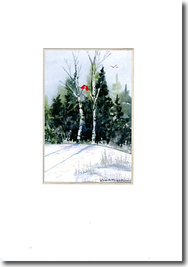 Cardinals in Birch Trees image