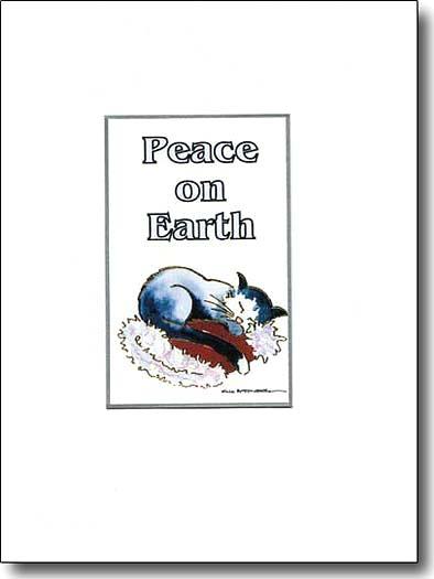 Cat on Santa Hat Peace on Earth image