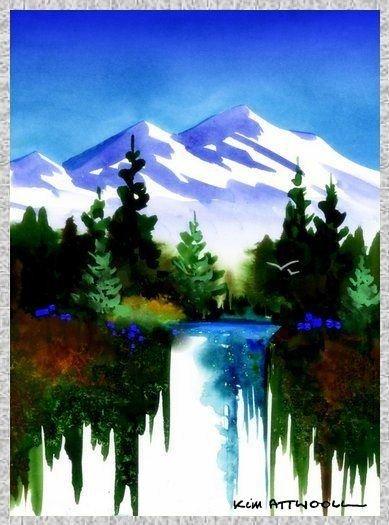 mountains image, handmade greeting cards