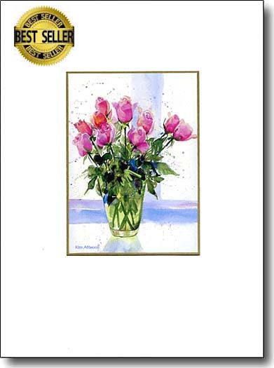 Roses in Green Vase image