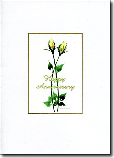 Pair of Yellow Roses Happy Anniversary image